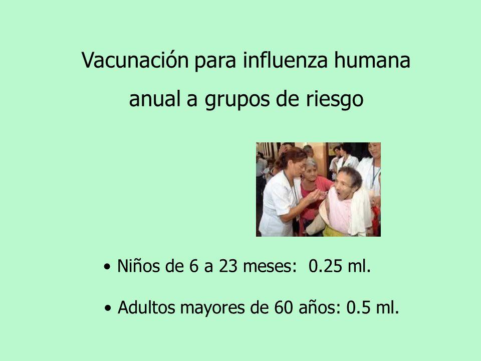 Vacunación para influenza humana anual a grupos de riesgo Niños de 6 a 23 meses: 0.25 ml. Adultos mayores de 60 años: 0.5 ml.