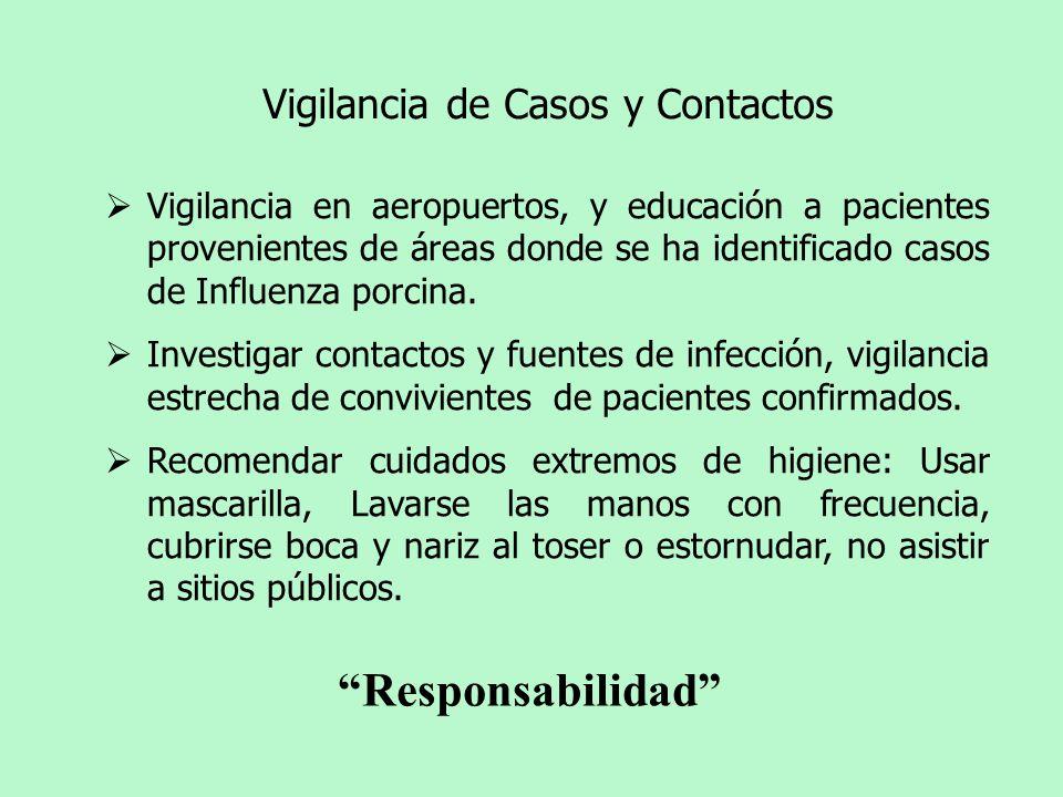 Vigilancia en aeropuertos, y educación a pacientes provenientes de áreas donde se ha identificado casos de Influenza porcina. Investigar contactos y f