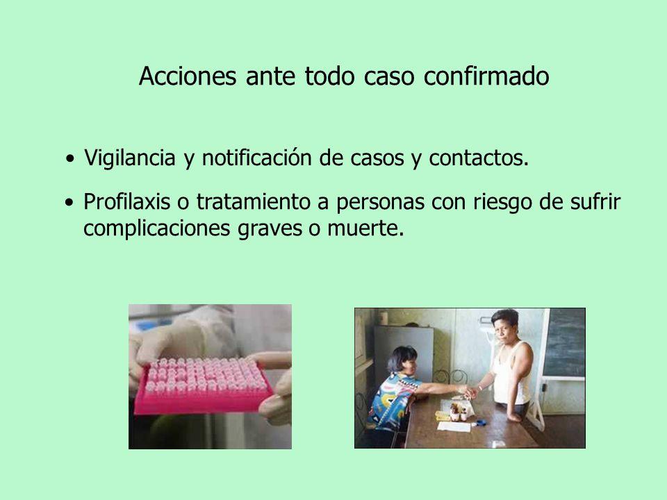 Profilaxis o tratamiento a personas con riesgo de sufrir complicaciones graves o muerte. Vigilancia y notificación de casos y contactos. Acciones ante