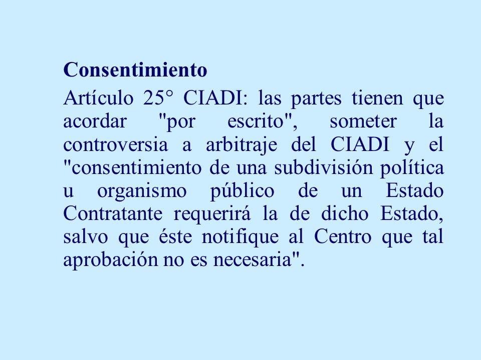 Consentimiento Artículo 25° CIADI: las partes tienen que acordar
