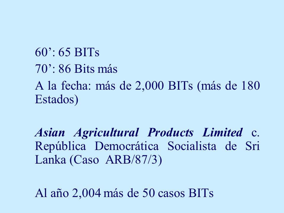 60: 65 BITs 70: 86 Bits más A la fecha: más de 2,000 BITs (más de 180 Estados) Asian Agricultural Products Limited c. República Democrática Socialista