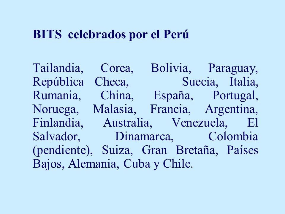 BITS celebrados por el Perú Tailandia, Corea, Bolivia, Paraguay, República Checa, Suecia, Italia, Rumania, China, España, Portugal, Noruega, Malasia, Francia, Argentina, Finlandia, Australia, Venezuela, El Salvador, Dinamarca, Colombia (pendiente), Suiza, Gran Bretaña, Países Bajos, Alemania, Cuba y Chile.