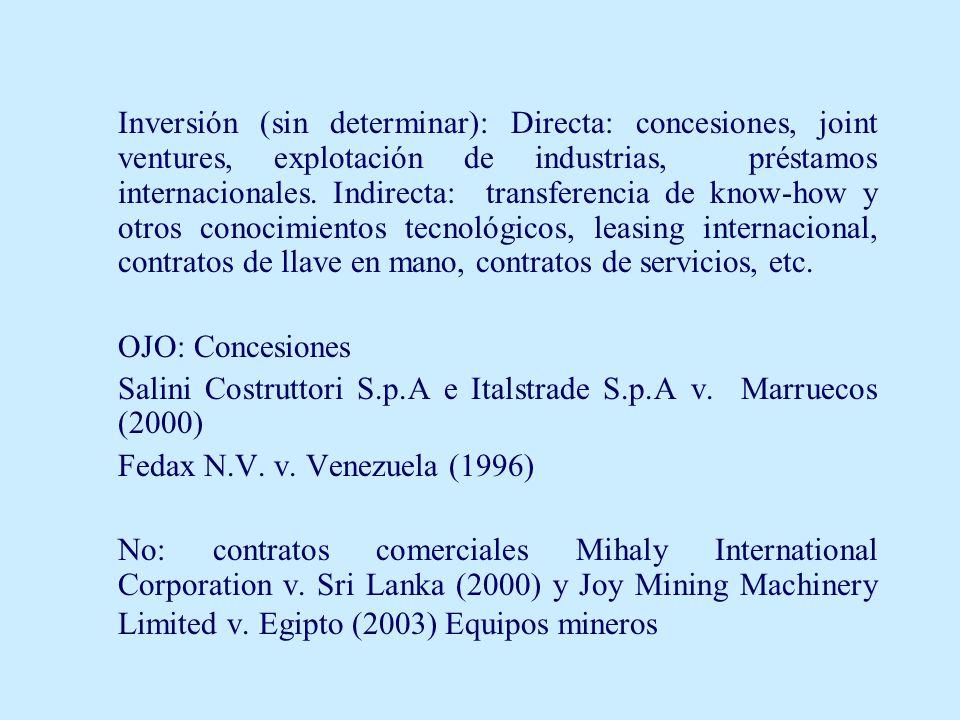 Inversión (sin determinar): Directa: concesiones, joint ventures, explotación de industrias, préstamos internacionales. Indirecta: transferencia de kn