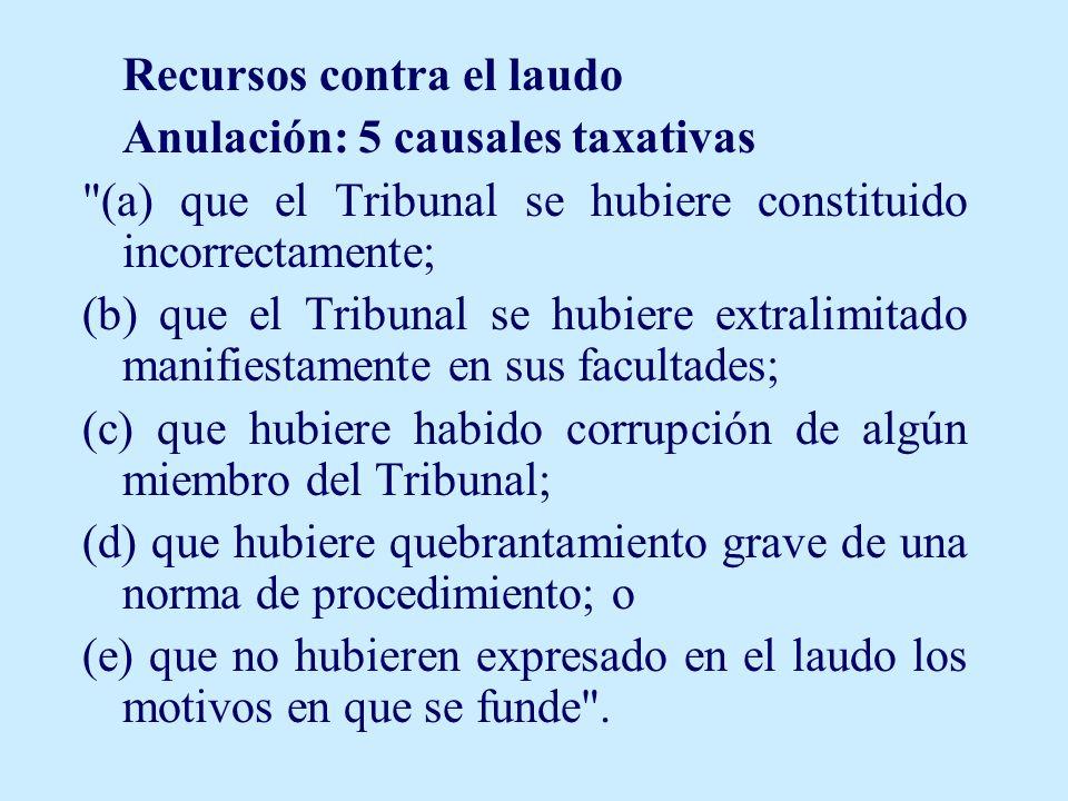 Recursos contra el laudo Anulación: 5 causales taxativas