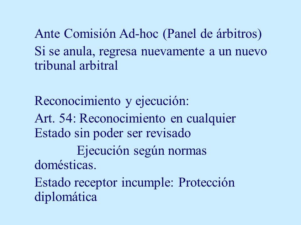 Ante Comisión Ad-hoc (Panel de árbitros) Si se anula, regresa nuevamente a un nuevo tribunal arbitral Reconocimiento y ejecución: Art. 54: Reconocimie