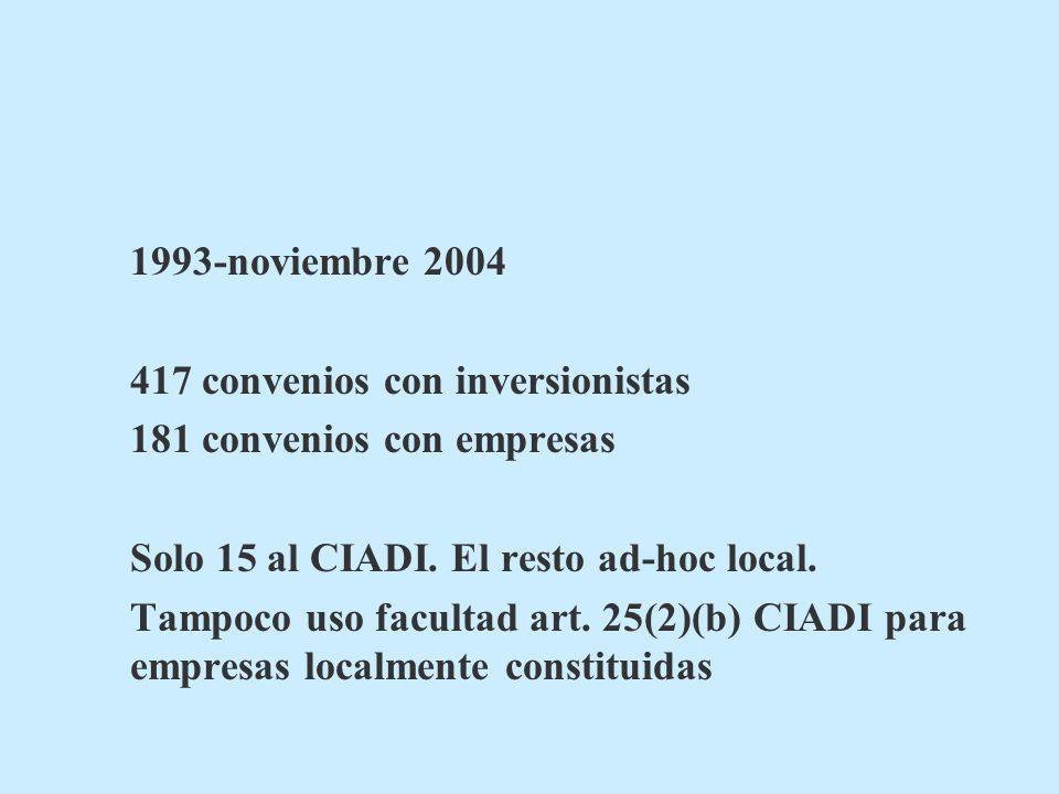 1993-noviembre 2004 417 convenios con inversionistas 181 convenios con empresas Solo 15 al CIADI. El resto ad-hoc local. Tampoco uso facultad art. 25(