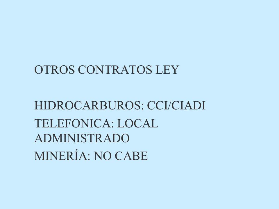 OTROS CONTRATOS LEY HIDROCARBUROS: CCI/CIADI TELEFONICA: LOCAL ADMINISTRADO MINERÍA: NO CABE
