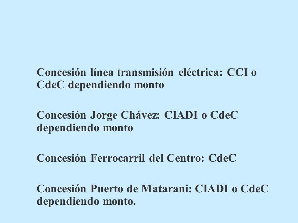 Concesión línea transmisión eléctrica: CCI o CdeC dependiendo monto Concesión Jorge Chávez: CIADI o CdeC dependiendo monto Concesión Ferrocarril del Centro: CdeC Concesión Puerto de Matarani: CIADI o CdeC dependiendo monto.