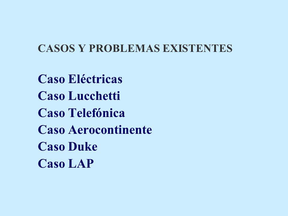 CASOS Y PROBLEMAS EXISTENTES Caso Eléctricas Caso Lucchetti Caso Telefónica Caso Aerocontinente Caso Duke Caso LAP
