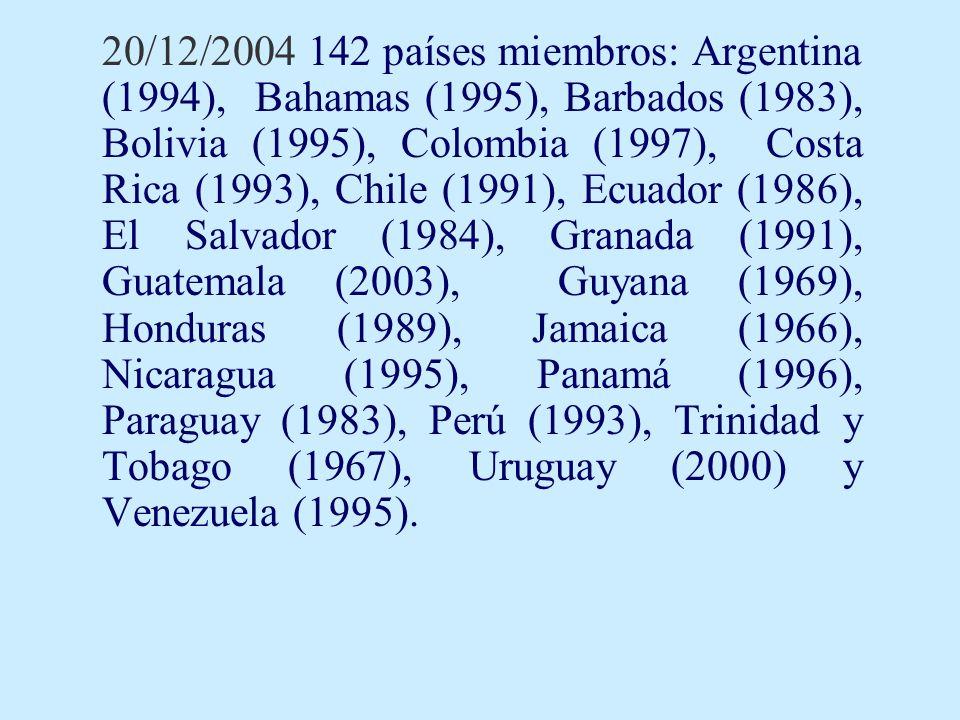 20/12/2004 142 países miembros: Argentina (1994), Bahamas (1995), Barbados (1983), Bolivia (1995), Colombia (1997), Costa Rica (1993), Chile (1991), E