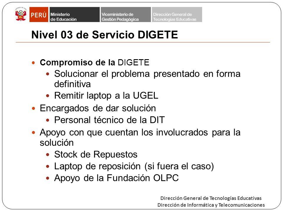 Dirección General de Tecnologías Educativas Dirección de Informática y Telecomunicaciones Nivel 03 de Servicio DIGETE Compromiso de la DIGETE Solucion