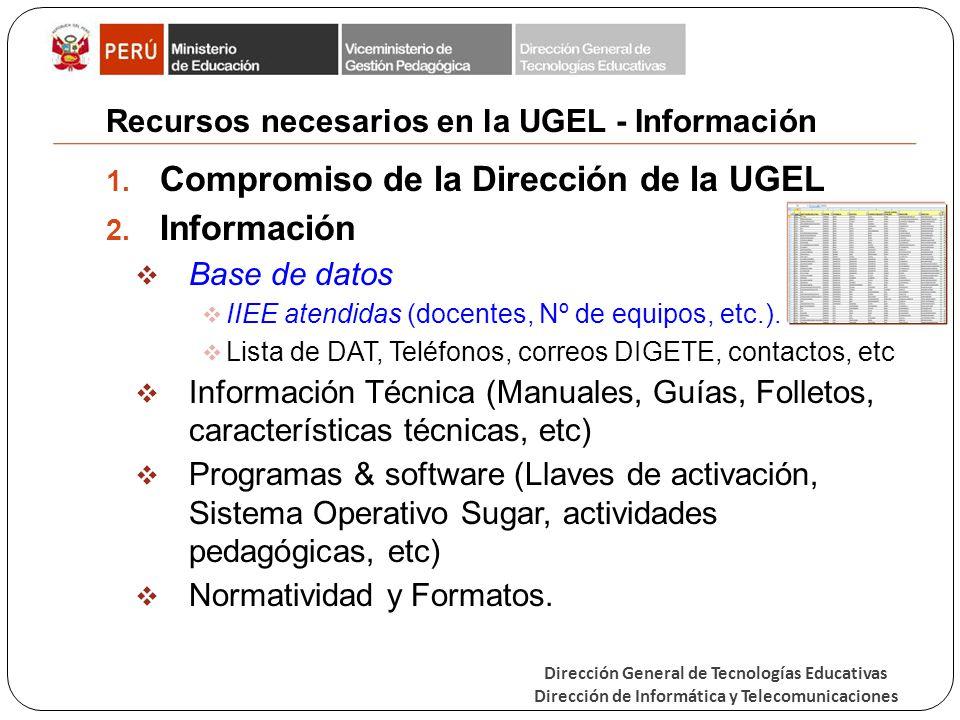 Dirección General de Tecnologías Educativas Dirección de Informática y Telecomunicaciones Recursos necesarios en la UGEL - Información 1. Compromiso d