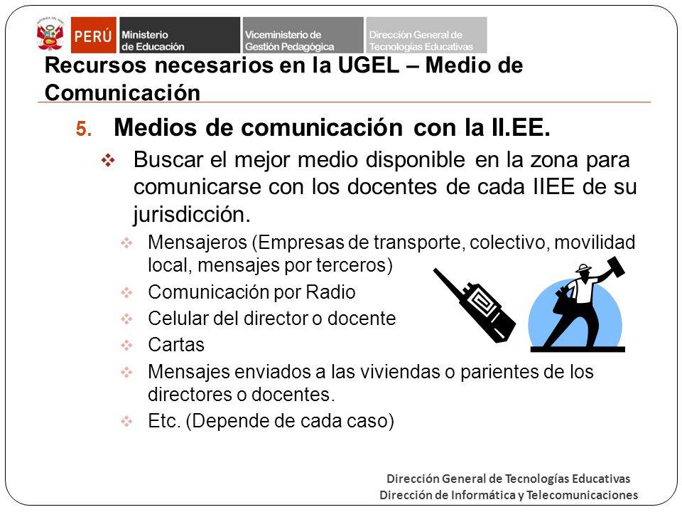 Dirección General de Tecnologías Educativas Dirección de Informática y Telecomunicaciones Recursos necesarios en la UGEL – Medio de Comunicación 5. Me