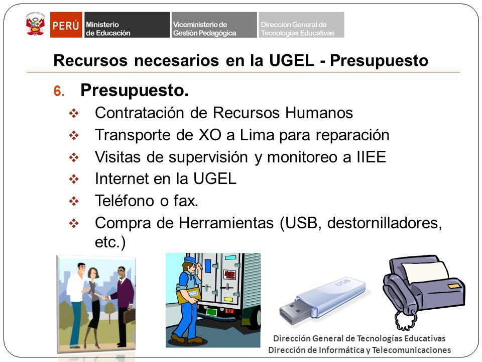 Dirección General de Tecnologías Educativas Dirección de Informática y Telecomunicaciones Recursos necesarios en la UGEL - Presupuesto 6. Presupuesto.