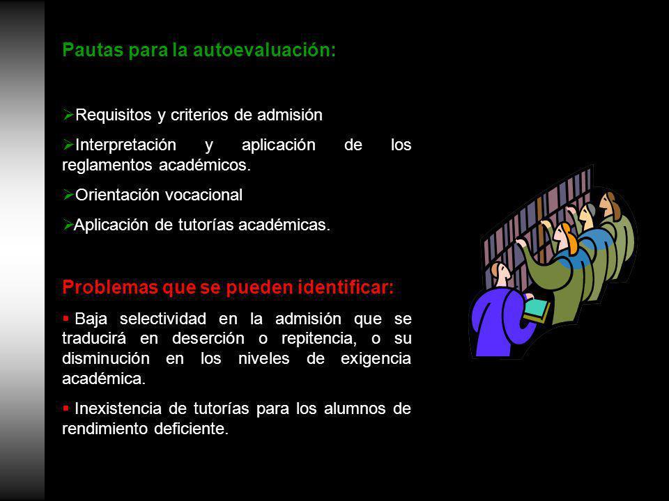 Pautas para la autoevaluación: Requisitos y criterios de admisión Interpretación y aplicación de los reglamentos académicos.