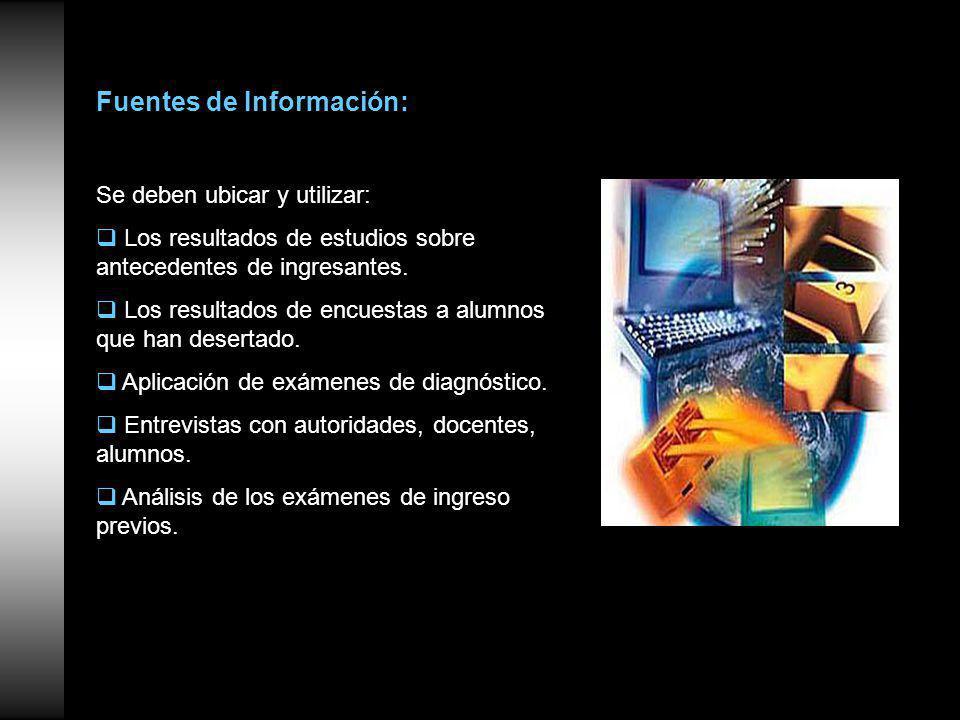 Fuentes de Información: Se deben ubicar y utilizar: Los resultados de estudios sobre antecedentes de ingresantes.