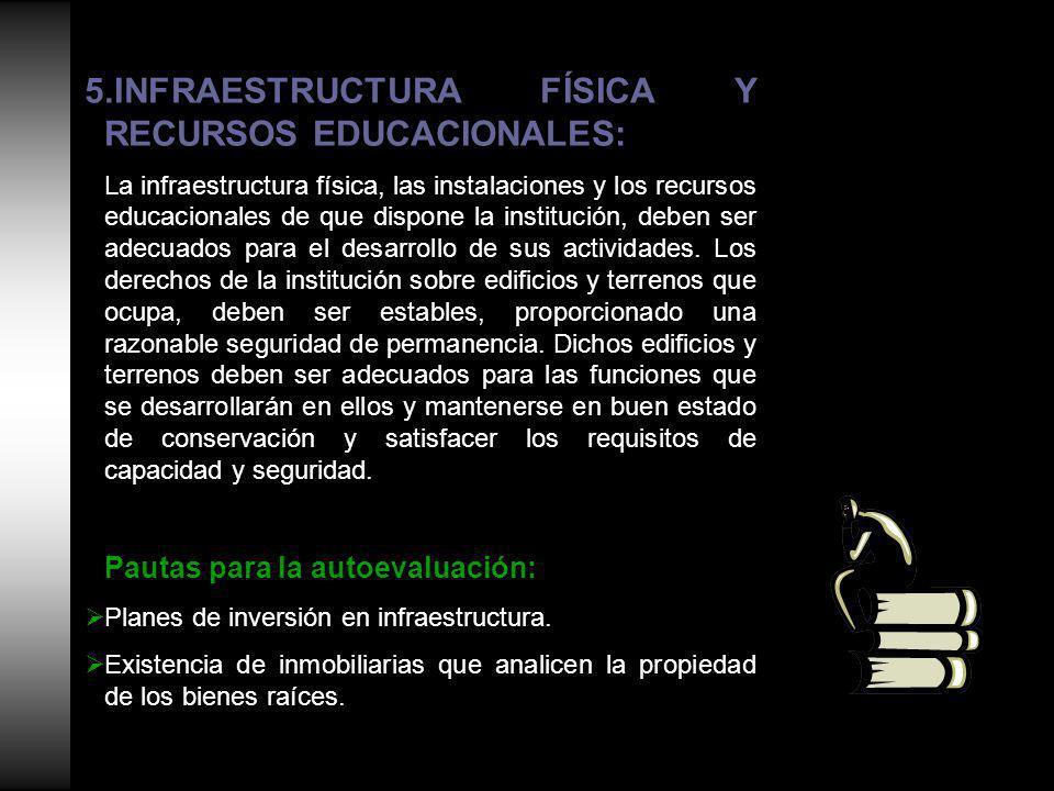 5.INFRAESTRUCTURA FÍSICA Y RECURSOS EDUCACIONALES: La infraestructura física, las instalaciones y los recursos educacionales de que dispone la institución, deben ser adecuados para el desarrollo de sus actividades.