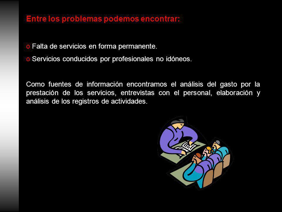 Entre los problemas podemos encontrar: o Falta de servicios en forma permanente.