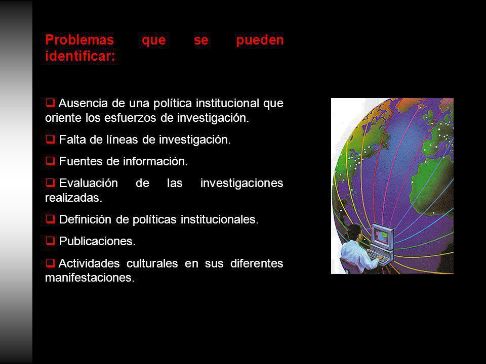 Problemas que se pueden identificar: Ausencia de una política institucional que oriente los esfuerzos de investigación.