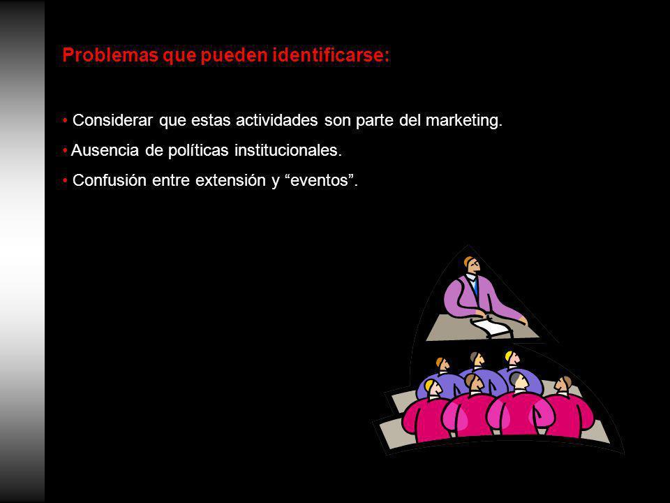 Problemas que pueden identificarse: Considerar que estas actividades son parte del marketing.