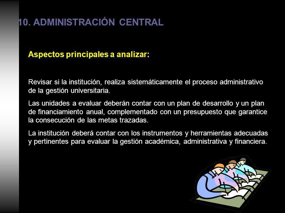 10. ADMINISTRACIÓN CENTRAL Aspectos principales a analizar: Revisar si la institución, realiza sistemáticamente el proceso administrativo de la gestió