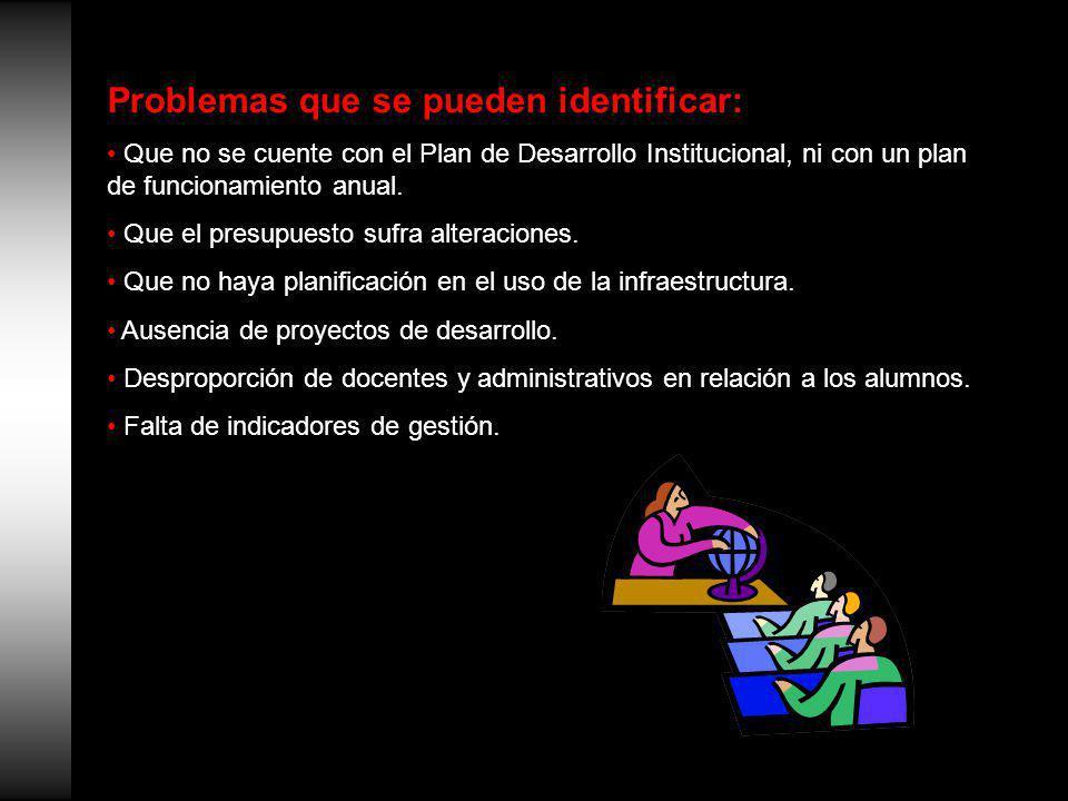 Problemas que se pueden identificar: Que no se cuente con el Plan de Desarrollo Institucional, ni con un plan de funcionamiento anual.