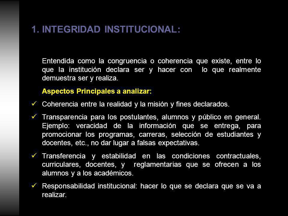 1.INTEGRIDAD INSTITUCIONAL: Entendida como la congruencia o coherencia que existe, entre lo que la institución declara ser y hacer con lo que realmente demuestra ser y realiza.