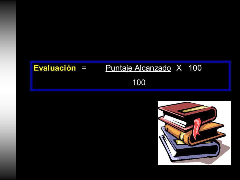 Evaluación=Puntaje Alcanzado X 100 100