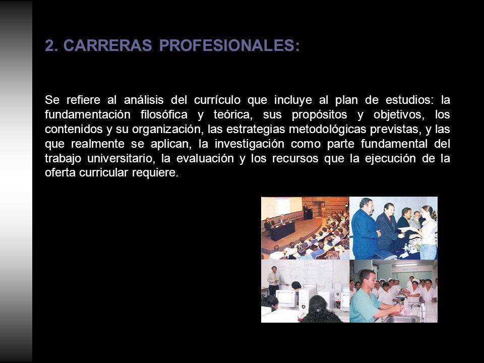2.CARRERAS PROFESIONALES: Se refiere al análisis del currículo que incluye al plan de estudios: la fundamentación filosófica y teórica, sus propósitos y objetivos, los contenidos y su organización, las estrategias metodológicas previstas, y las que realmente se aplican, la investigación como parte fundamental del trabajo universitario, la evaluación y los recursos que la ejecución de la oferta curricular requiere.