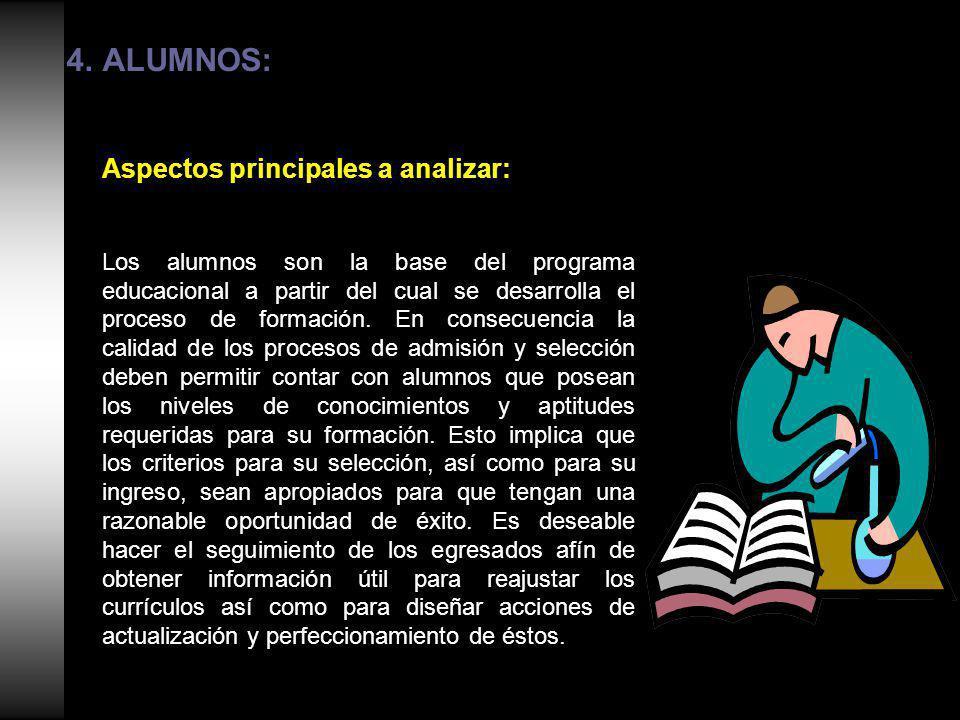 4.ALUMNOS: Aspectos principales a analizar: Los alumnos son la base del programa educacional a partir del cual se desarrolla el proceso de formación.