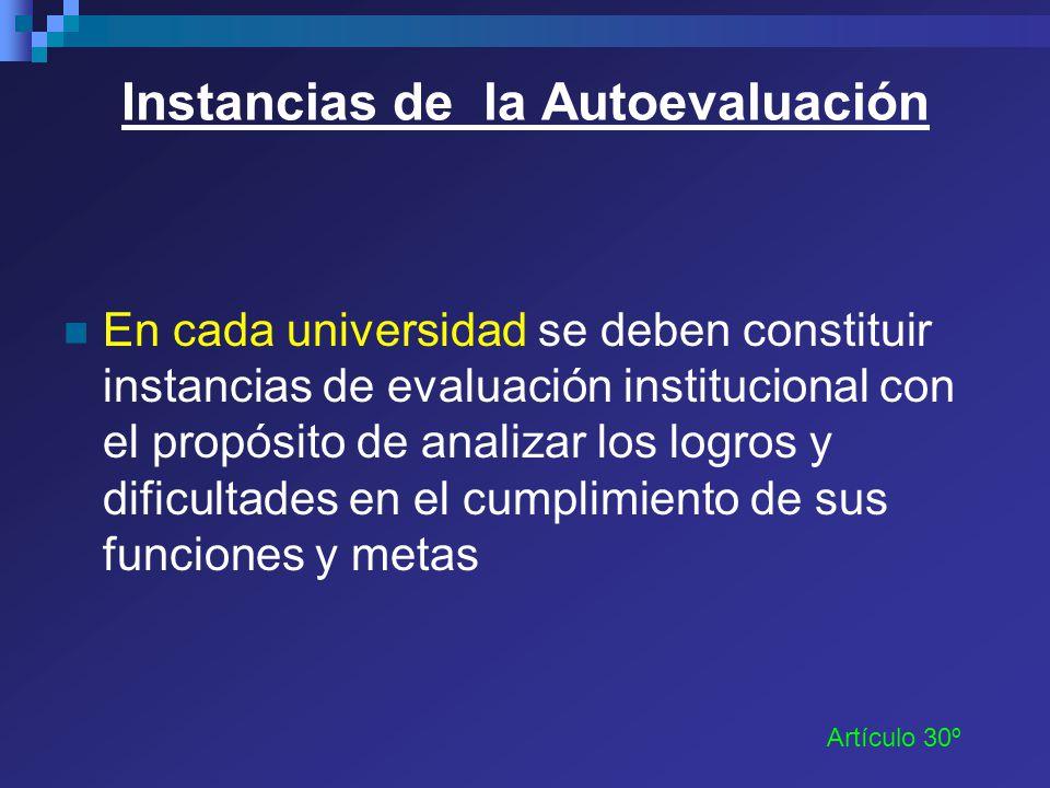 Instancias de la Autoevaluación En cada universidad se deben constituir instancias de evaluación institucional con el propósito de analizar los logros