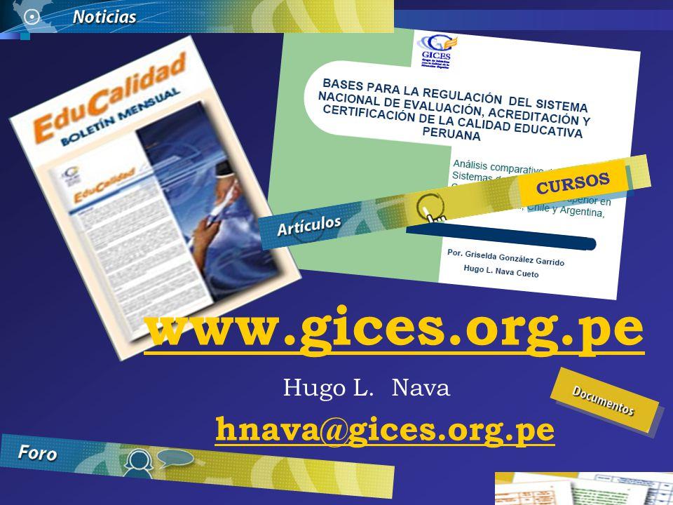 www.gices.org.pe Hugo L. Nava hnava@gices.org.pe CURSOS