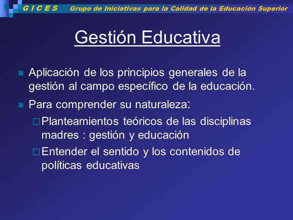Gestión Educativa Aplicación de los principios generales de la gestión al campo específico de la educación. Para comprender su naturaleza : Planteamie
