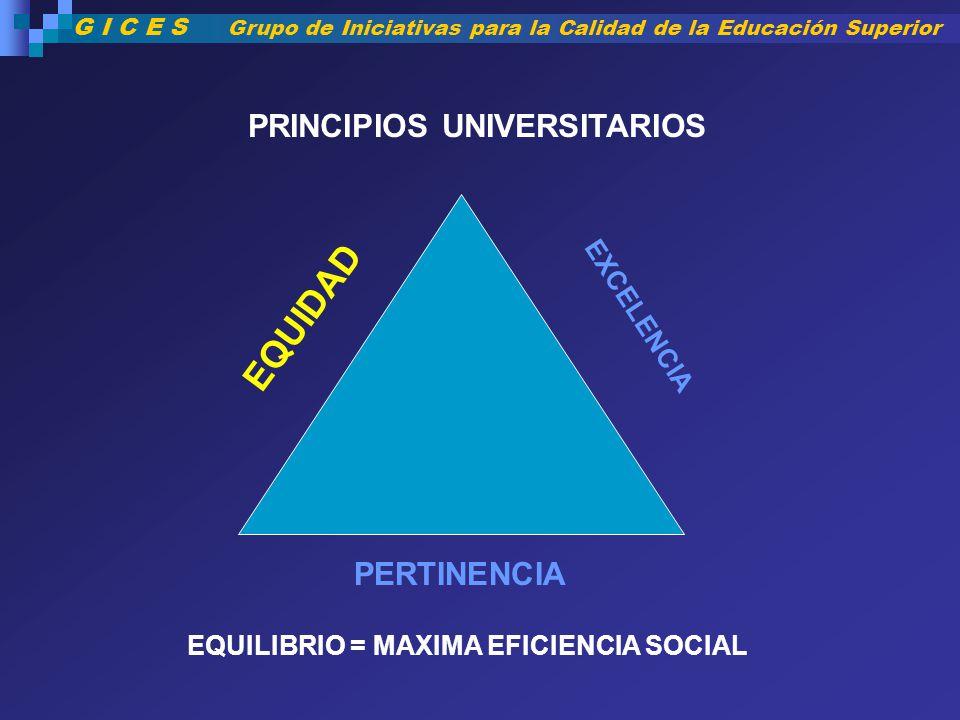 PERTINENCIA EQUIDAD EXCELENCIA PRINCIPIOS UNIVERSITARIOS EQUILIBRIO = MAXIMA EFICIENCIA SOCIAL G I C E S Grupo de Iniciativas para la Calidad de la Ed
