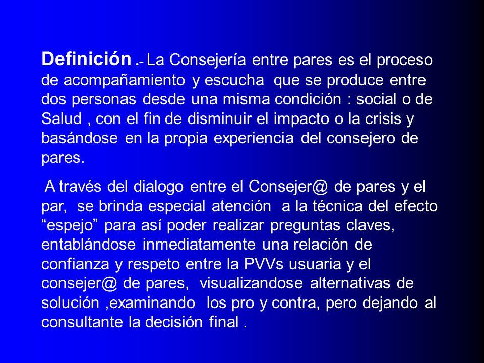 Perfil Del Consejero entre Pares: - Deberá haber trabajado su diagnóstico de manera personal y en el entorno familiar.