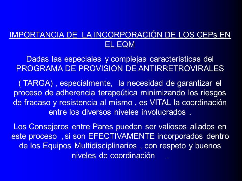 IMPORTANCIA DE LA INCORPORACIÓN DE LOS CEPs EN EL EQM Dadas las especiales y complejas caracteristicas del PROGRAMA DE PROVISION DE ANTIRRETROVIRALES