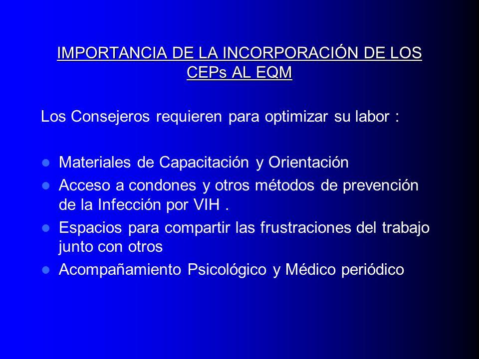 IMPORTANCIA DE LA INCORPORACIÓN DE LOS CEPs AL EQM Los Consejeros requieren para optimizar su labor : Materiales de Capacitación y Orientación Acceso