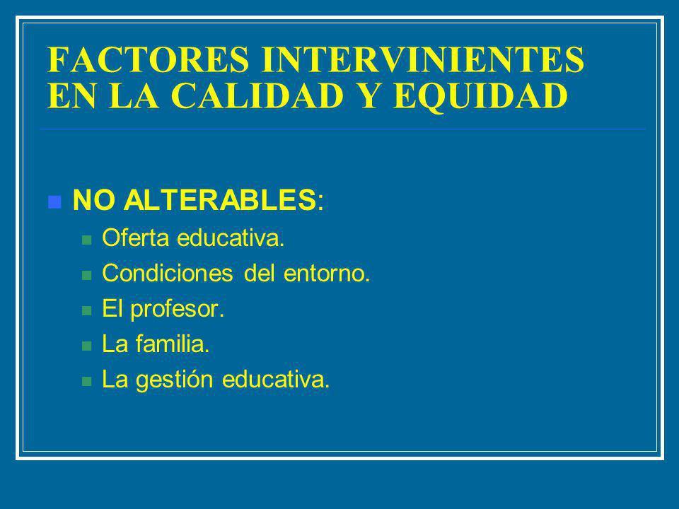 FACTORES INTERVINIENTES EN LA CALIDAD Y EQUIDAD NO ALTERABLES: Oferta educativa. Condiciones del entorno. El profesor. La familia. La gestión educativ