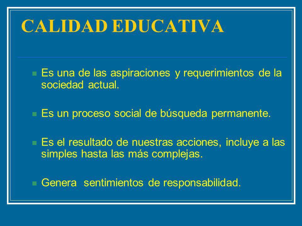 CALIDAD EDUCATIVA Es una de las aspiraciones y requerimientos de la sociedad actual. Es un proceso social de búsqueda permanente. Es el resultado de n