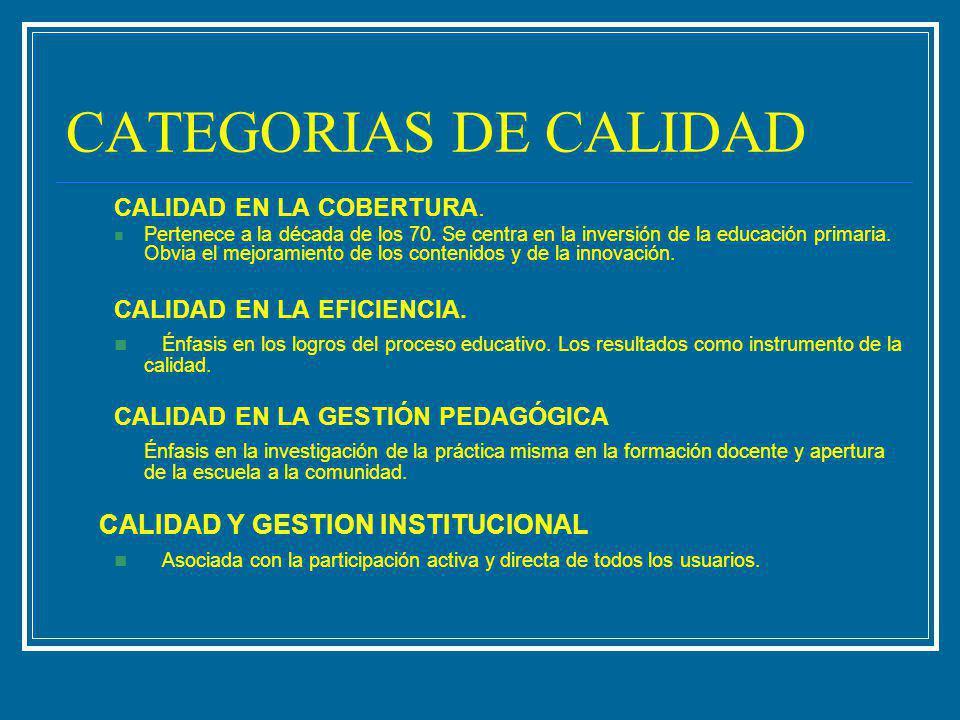 CATEGORIAS DE CALIDAD CALIDAD EN LA COBERTURA. Pertenece a la década de los 70. Se centra en la inversión de la educación primaria. Obvia el mejoramie