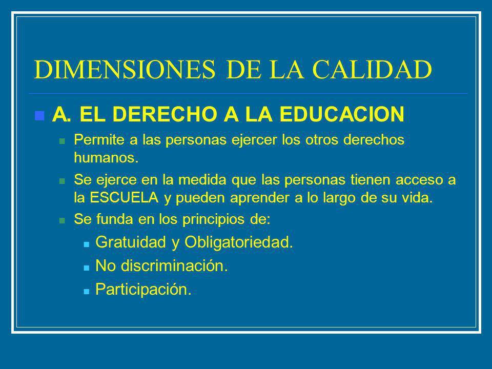 DIMENSIONES DE LA CALIDAD A. EL DERECHO A LA EDUCACION Permite a las personas ejercer los otros derechos humanos. Se ejerce en la medida que las perso