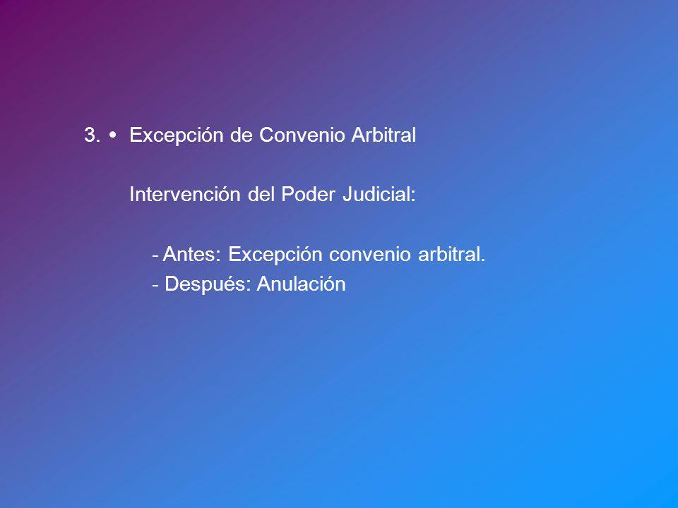 3.Excepción de Convenio Arbitral Intervención del Poder Judicial: - Antes: Excepción convenio arbitral. - Después: Anulación