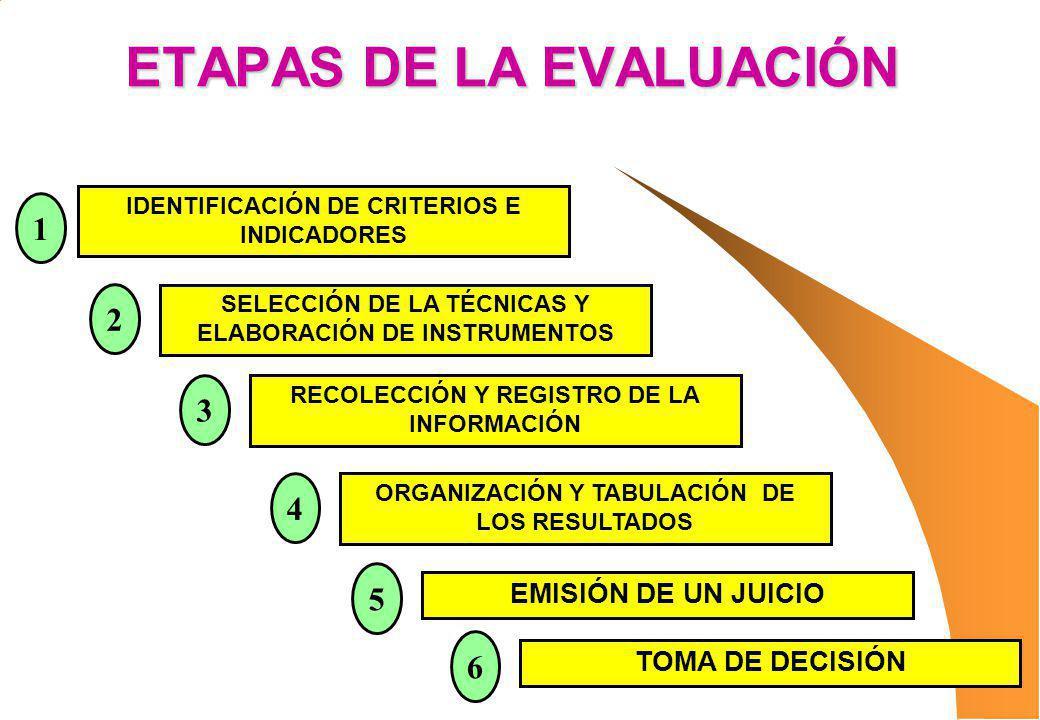 ETAPAS DE LA EVALUACIÓN IDENTIFICACIÓN DE CRITERIOS E INDICADORES SELECCIÓN DE LA TÉCNICAS Y ELABORACIÓN DE INSTRUMENTOS RECOLECCIÓN Y REGISTRO DE LA