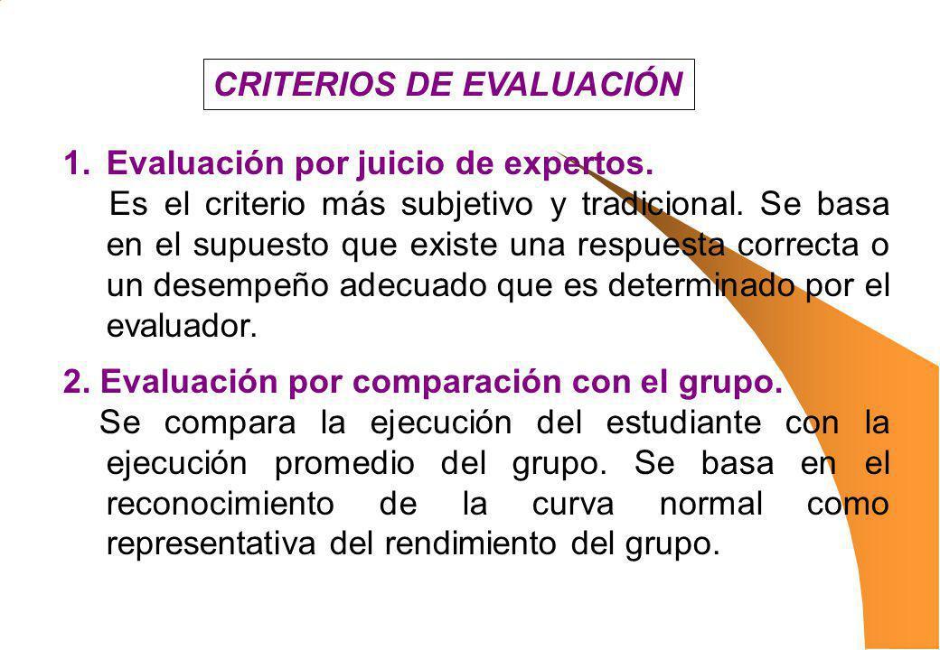 1.Evaluación por juicio de expertos. Es el criterio más subjetivo y tradicional. Se basa en el supuesto que existe una respuesta correcta o un desempe