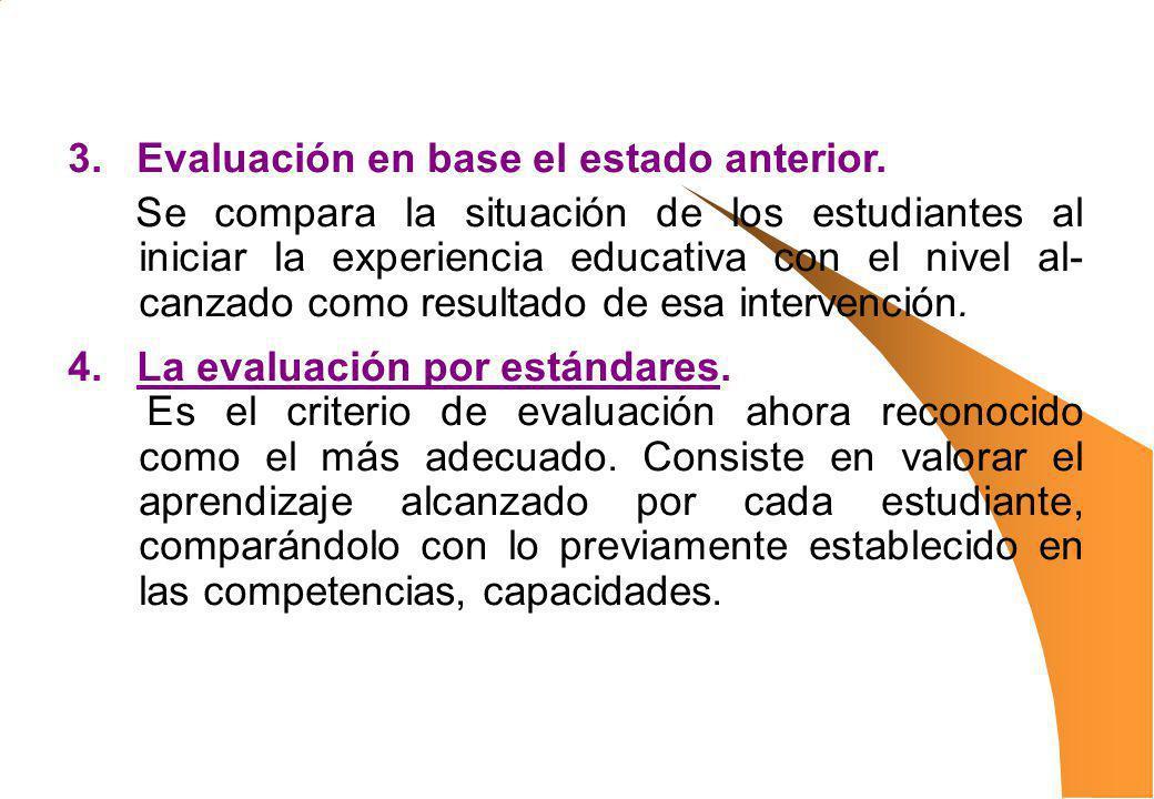 3. Evaluación en base el estado anterior. Se compara la situación de los estudiantes al iniciar la experiencia educativa con el nivel al- canzado como