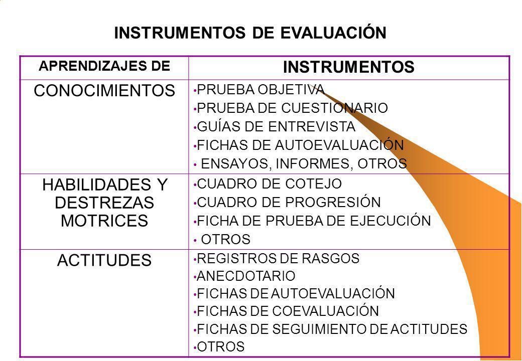 APRENDIZAJES DE INSTRUMENTOS CONOCIMIENTOS PRUEBA OBJETIVA PRUEBA DE CUESTIONARIO GUÍAS DE ENTREVISTA FICHAS DE AUTOEVALUACIÓN ENSAYOS, INFORMES, OTRO