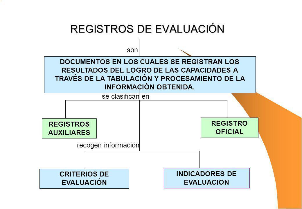 REGISTROS DE EVALUACIÓN DOCUMENTOS EN LOS CUALES SE REGISTRAN LOS RESULTADOS DEL LOGRO DE LAS CAPACIDADES A TRAVÉS DE LA TABULACIÓN Y PROCESAMIENTO DE