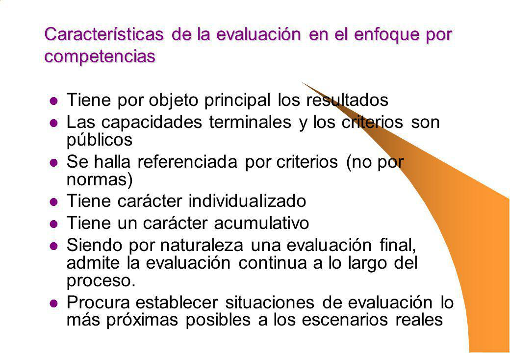 Características de la evaluación en el enfoque por competencias Tiene por objeto principal los resultados Las capacidades terminales y los criterios s