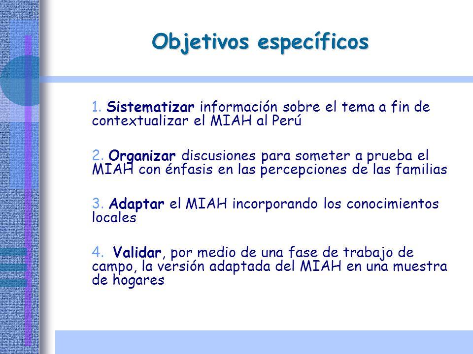 Objetivos específicos 1. Sistematizar información sobre el tema a fin de contextualizar el MIAH al Perú 2. Organizar discusiones para someter a prueba