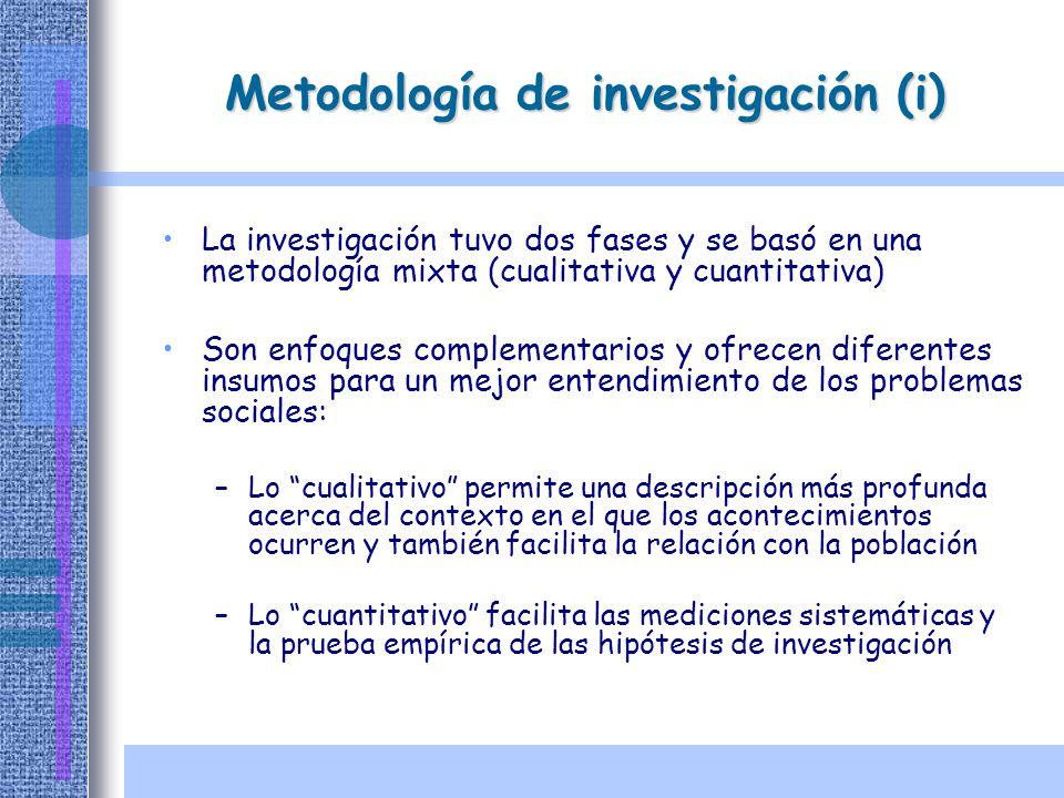 La investigación tuvo dos fases y se basó en una metodología mixta (cualitativa y cuantitativa) Son enfoques complementarios y ofrecen diferentes insu